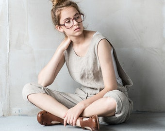 Loose Linen jumpsuit / washed  linen jumpsuit/ Washed linen overall in natural / Linen romper