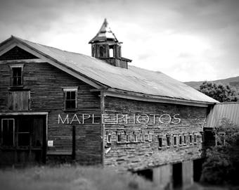 Old Barn in New Hampshire, black and white photography, New England Fine Art, Summertime
