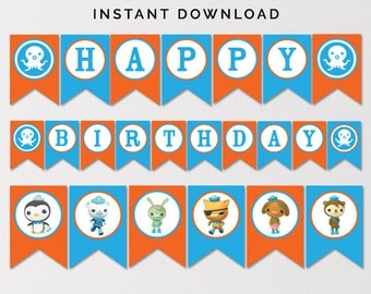 Octonauts Birthday Banner, Happy Birthday Banner, Octonauts Party Banner, Printable Octonauts Banner, Boys Birthday Party, Instant Download