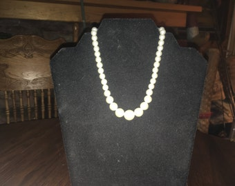 Vintage White Graduated Faux Pearls Made In Japan