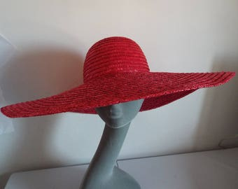 Vintage Ladies Hat Cerise 1960's VERY Large Brimmed Real Floppy STRAW HAT By Hat Shop Covent Garden London ideal to add scarf