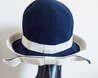 VINTAGE  Woman's  1950''s Navy and Ivory Upturned Cloche Hat Double Bow at back All Hand trimmed