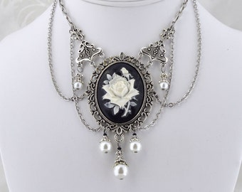 La Rose Gothique - Beautiful Black Rose Cameo Necklace - Gothic Victorian Necklace
