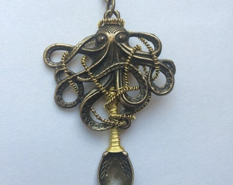 Gold Wire Wrapped Bronze Octopus Spoon Pendant Chain Necklace
