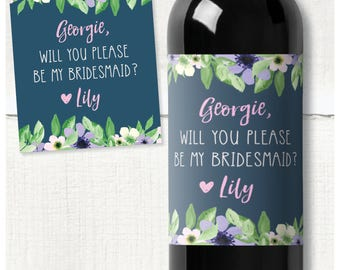 """Bridesmaid/Maid of Honour floral proposal personalised wine label """"Will you be my Bridesmaid?"""""""