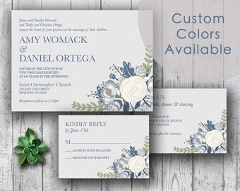 Printable Wedding Invitation PDF Set or Pick & Choose - Elegant Country Rustic Floral Bouquet in Steel Blue Gray Ivory (Or Pick Your Colors)