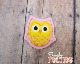 Owl Felties--Pink and Yellow--Set of 4