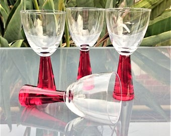 Vintage red thick stem wine glasses set of by penelainbricandbrac - Wine glasses with thick stems ...