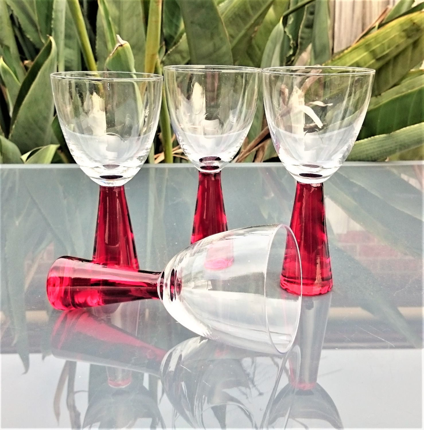 Vintage red thick stem wine glasses set of 4 551c - Wine glasses with thick stems ...