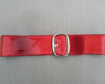 Women's Red Leather Waist Belt