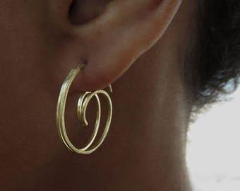 "Spiral earring ""Kalyana"" - silver, goldplated"