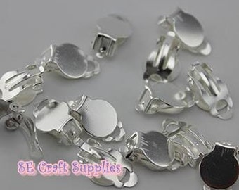 10/30pcs Sliver Tone Earring Clip with 10mm Glue pad Jewelry supplies finding Earring Finding