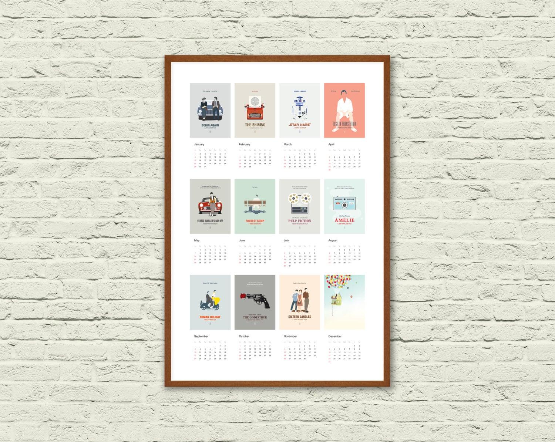 2017 Calendar Minimalist : Wall calendar minimalist movie poster