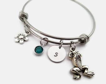 Frog bangle bracelet - frog bangle jewelry - adjustable bangle bracelet - frog bracelet - gift for frog lover - frog jewelry - gift for her