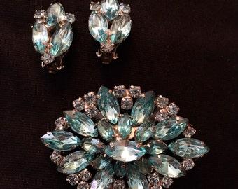 Aqua Blue Rhinestone Brooch / Pin & Earring Set