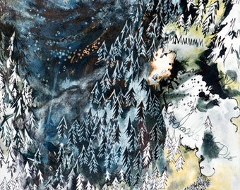 Watercolour Art Print - NORWEGIAN WOOD