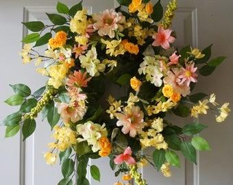 Summer Wreath, Wildflowers Yellow Roses Hydrangea front door Wreath, Spring wreath, Front door wreath