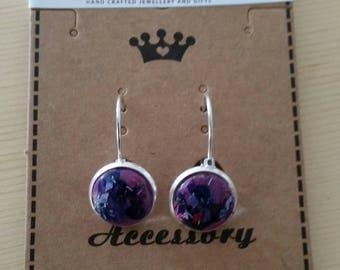 Purple glitter dangle earrings
