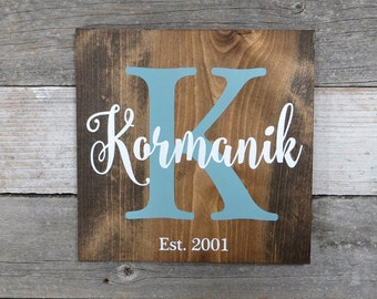"""Personalized Rustic Hand Painted Wood Sign, Family Name Sign, Monogram Sign, Est. Date Sign, Last Name Sign - 9.25""""x9.25"""" or 11.25""""x11.25"""""""