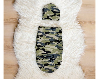 Newborn Swaddle Set Camo, Coming home outfit boy, Baby Boy Swaddle Blanket, Green Black Camo Swaddle Sack