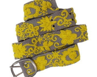 Two Tone Floral Hand Embroidered Belt size large only
