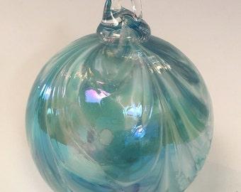 Aqua Hand Blown Glass Ornament