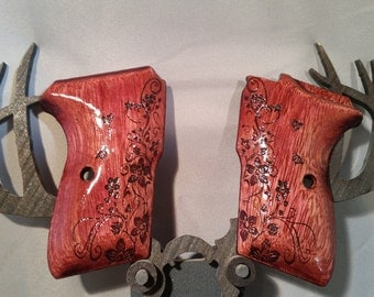Bersa Thunder 380 Grips made from PURPLEHEART with Vines, Flowers, and Butterflies