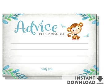 Advice for Mommy To Be, Boy Monkey Baby Shower Games Printable (Instant Download)  No.1293BOY