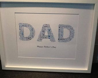 Personalised DAD Word Art Print - A4