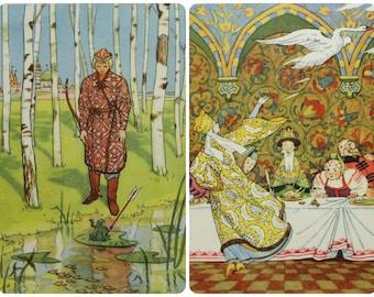 "Illustrator N. Goltz. ""The Frog Princess"" Russian Fairy Tale. Set of 2 Vintage Soviet Postcards - 1955. Izogiz Publ."