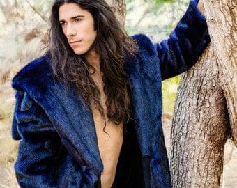 """Burning Man Men's Vandal Faux Fur coat with zip off hood in """"Azul"""""""