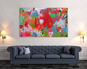 Modern abstract artwork in XXL by Alexander Zerr acrylic on canvas 100x160cm #473