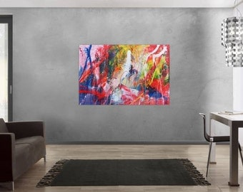 Original abstract artwork on canvas ready to hang 100x150cm #503