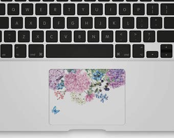Transparent Trackpad Sticker Floral Trackpad Decal Trackpad Cover for MacBook - Butterfly and Hydrangeas