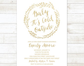 Baby Its Cold Outside Baby Shower Invitation, Wreath Winter Baby Shower Invitation, White Gold Glitter Gender Neutral Shower Printable