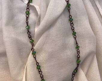 Green Swarovski Crystal and Dark Copper Wire Necklace