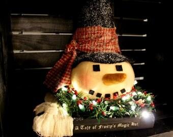 A Frosty Tale - primitive snowman - winter decor - primitive Christmas decor