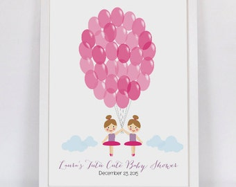 tutu cute twins ballerina party guest book printable pdf baby shower girl birthday balloon