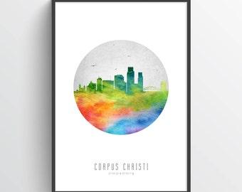 Corpus Christi Skyline Poster, Corpus Christi Cityscape, Corpus Christi Art, Corpus Christi Decor, Home Decor, Gift Idea, USTXCC20P