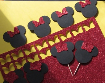 Minnie mouse silhouette cupcake toppers