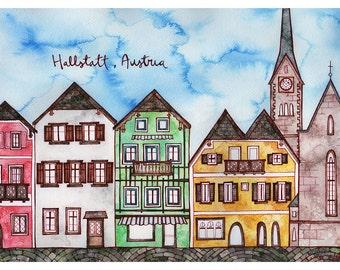 HALLSTATT, AUSTRIA Print 11X14 Ink and Watercolor Painting