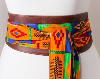 Brown Leather African Orange Kente Print Obi Belt l Leather Ankara Corset Belt | Ankara Wax Print Belt | Waist Belt| Corset Belt |Plus size