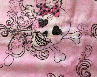 4 1/2 Yards Pink Skulls Fabric 500