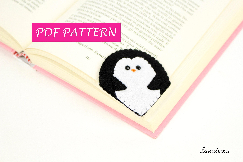 Penguin bookmark DIY, PDF pattern, felt easy sewing, craft, sewing ...