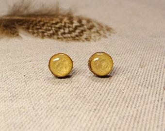 Studs, wooden earrings 9-11 mm, surgical steel studs, hand painted ear studs, stud earrings, hypoallergenic (030)