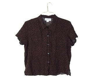 California Krush Black and Brown Short Sleeved Blouse