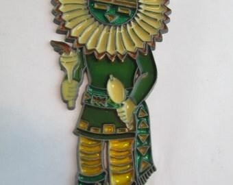 Vintage 1994 Native American Suncatcher With Headdress - Suncatcher Brand