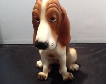 """Jolly Cholly Plastic Dog 7 1/2"""" Bassett Hound 1960's"""