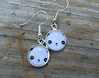 Panda Bear Dangle earrings, Bear earrings, Animal stud earrings, cabochon earrings, 12mm earrings, Gifts for her, Kawaii Earrings