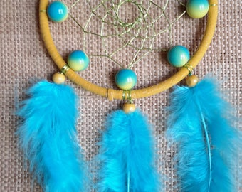 Blue and yellow dream catcher, Yellow and blue dream catcher, Small dream catcher